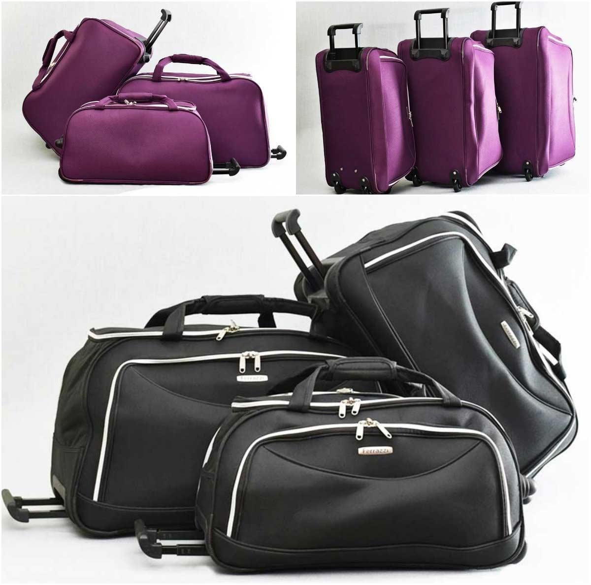 e4e1773a154 Комплект сакове с колелца, тип куфар, с телескопична дръжка, черен ...