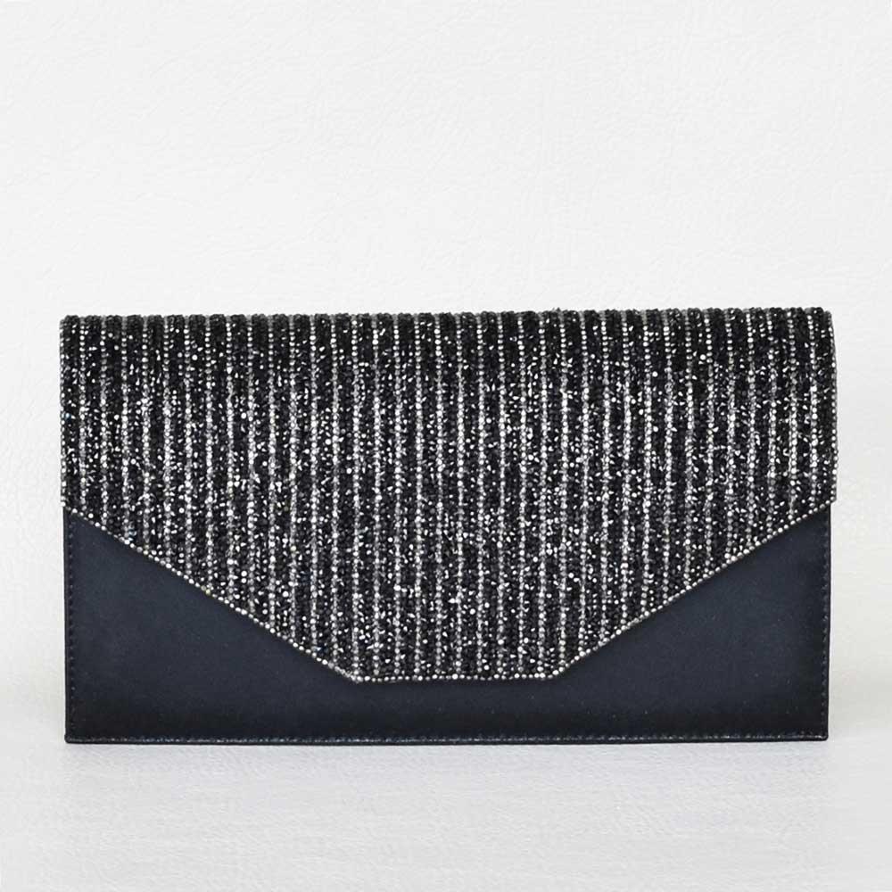f02caee3f4c Клъч, тип плик-официална дамска чанта с камъни, черна - Онлайн ...