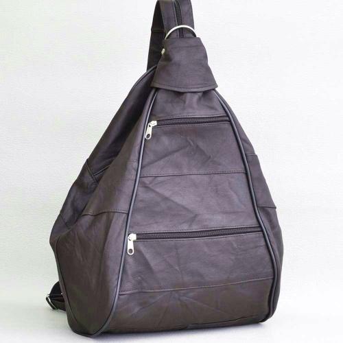 04f488d6267 Дамска раница-чанта от естествена кожа с външни джобчета, кафява ...